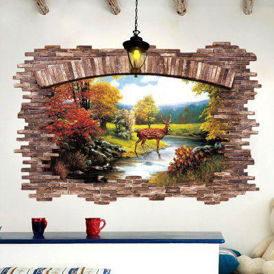 Aur de toamna de toamna Broken Wall 3D stereo detasabile Home Decoratiuni Wall Stickers