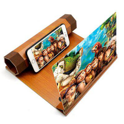Folding Desk Wooden Stand Mobile Phone Display Magnifier 3D HD Video Phone Stand