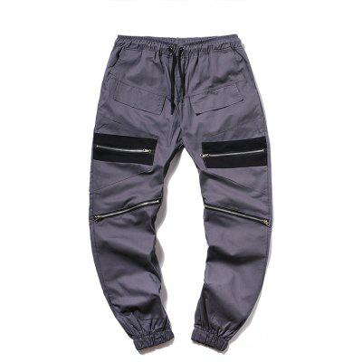 Men Fashion Stitching Tether Belt Cotton Casual Beam Trousers