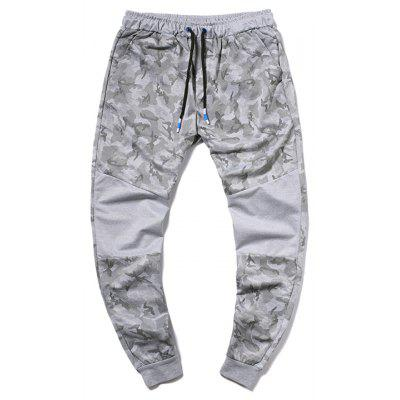 Men Fashion Camouflage Printed Tether Belt Color Matching Casual Trousers