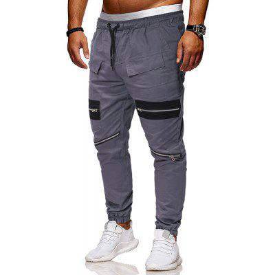 Men's  Fashion Zipper Stitching Solid Color Casual Pants