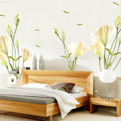 Lily Flower Home Background Wall Decoration Wall Sticker Removable Stickers