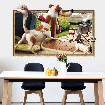 New 3D Pouting Dog Barbecue Home Background Decoration Removable Sticker