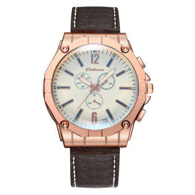 Fashion Casual Men Big Dial Chronograph Leather Quartz Watch