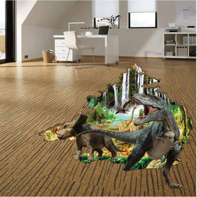 Dinosaur Broken Wall 3D Effect Floor Stickers Home Decoration Removable Stickers