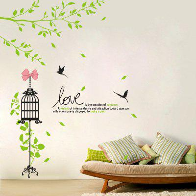 Green Twig Birdcage Love Home Background Decoration Removable Sticker