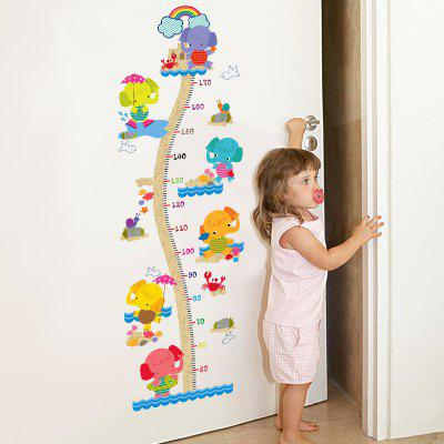 Cartoon Animal Elephant Height Sticker Home Decoration Removable Stickers