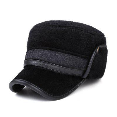 Warm Earmuffs Thick Flat Cap Middle-Aged Cap + Adjustable for 56-60CM