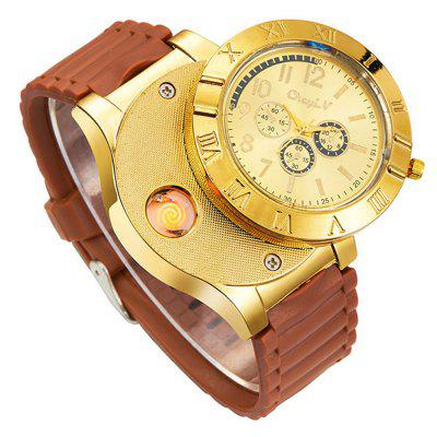 Moda Masculina Moda Big Dial Rubber Quartz Dress Watch