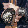 Men'S Creative Fashion Big Dial Leather Quartz Dress Watch - BLACK