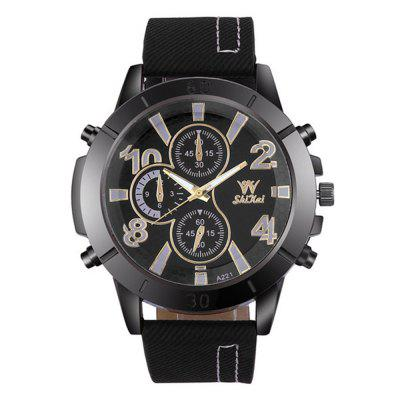 Men'S Creative Casual Big Dial Leather Quartz Dress Watch