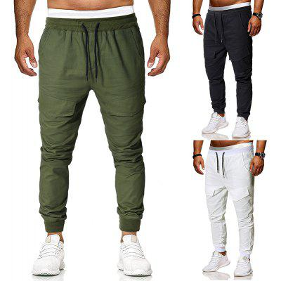 Men'S Fashion Solid Color String Belt Wild Straps Casual Pants