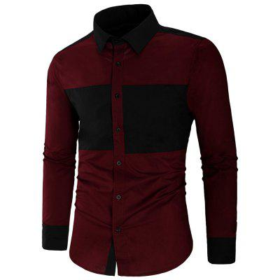 Men Autumn Casual Fashion Splicing Long Sleeve Shirt