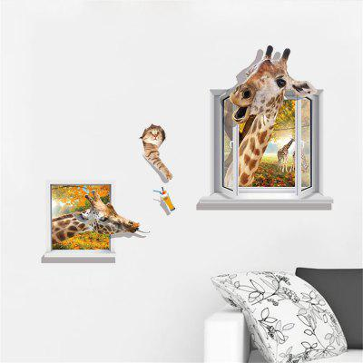 3D  Window Giraffe with Cat Home Background Decoration Removable Sticker