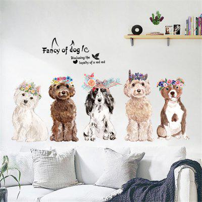 Patrón Cute Dog Home Background Vinilo decorativo Vinilo removible