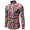 Men's Autumn Fashion Casual Long Sleeve Flower Shirt - MULTI-B