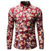 Men's Autumn Casual Fashion Long Sleeve Flower Shirt - RED WINE