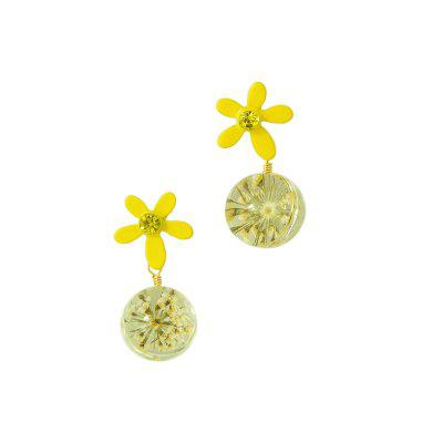 Fashion Summer Sweet Golden Flower Pendant Earrings 1Pair