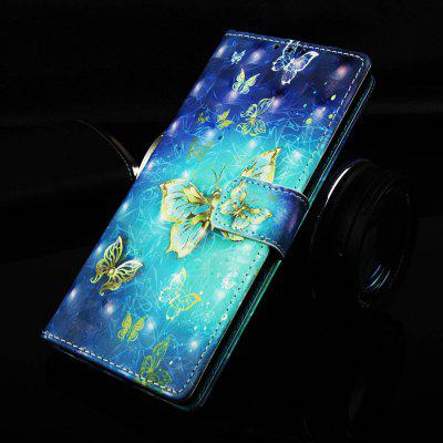 Gold Butterfly Painted PU Phone Case for Xiaomi Redmi Note 7