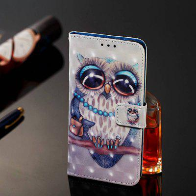 Grey Owl Painted PU Phone Case for Samsung Galaxy Note 10