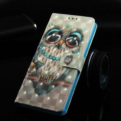 Grey Owl Painted PU Phone Case for Samsung Galaxy S10