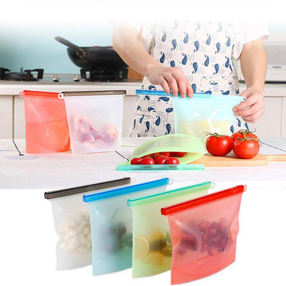 Gearbest / Reusable Sealing Fresh-keeping Bags Silicone Food Storage Bags 4PCS