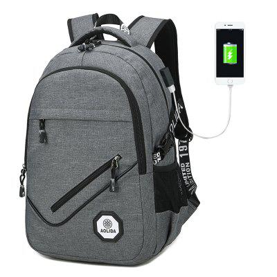 Male Leisure Bag USB Travel Computer Backpack