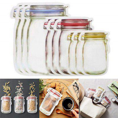 Reusable Mason Jar Pattern Bottle Model Food Saver Storage Fresh Bags Set 9PCS