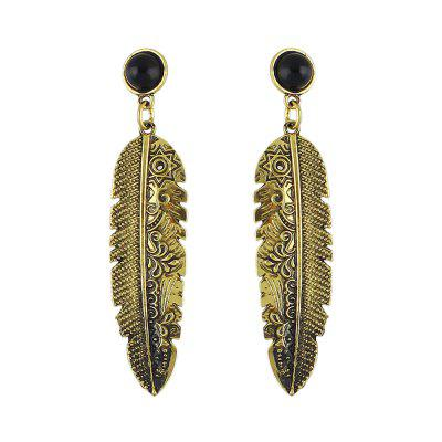 Ancient Gold Leaves Rhinestone Earrings