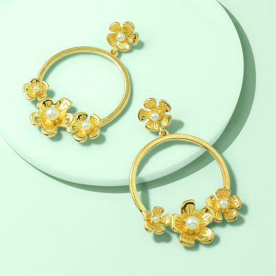 Fashion Temperament Court Golden Flower Pendant Earrings 1Pair