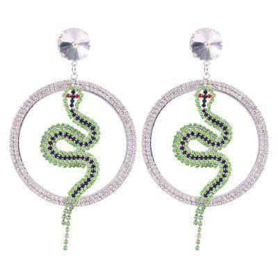 Orecchini versatili temperamento flash serpente verde diamante