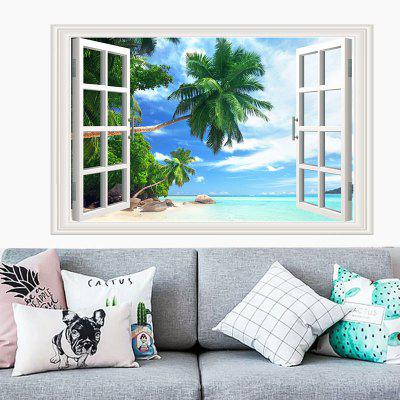 Coconut Beach Movable PVC Window Film Wall Sticker For Home Decoration