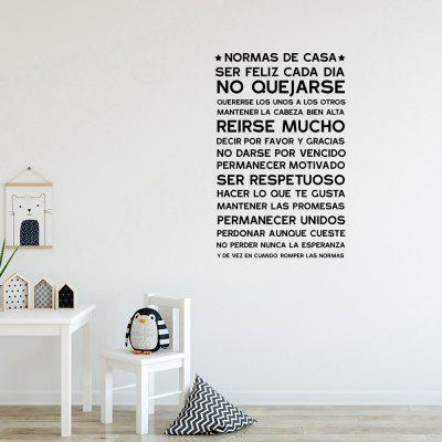 NORMAS DE Home Rules English Rumors Home Decor Removable Stickers
