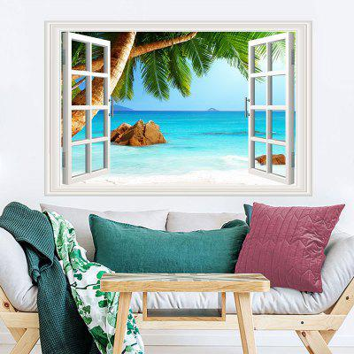 Beach Coconut Trees Movable PVC Window Film Wall Sticker for Home Decoration