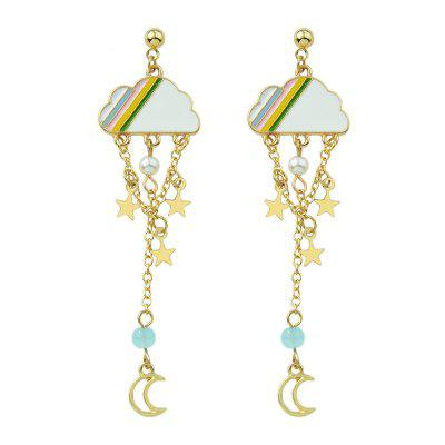 Fashion Color Clouds Stars Pendant Tassel Earrings 1Pair