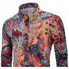 Men's  Autumn and Winter Casual Fashion Funny Print Long-Sleeved Shirt - MULTI-O