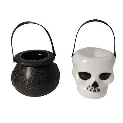 Halloween Candy Jar Portable Mini  Witch's Cauldron and  Skull