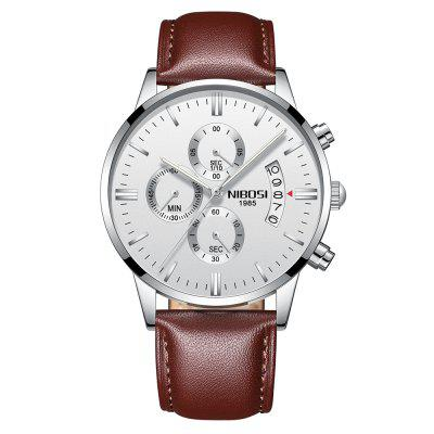 NIBOSI Herenhorloges Luxe mode Casual kleding Horloge lederen band Horloges