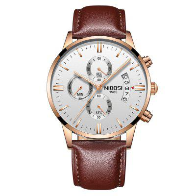 NIBOSI Men Watches Luxury Fashion Casual Dress Watch Leather Band Wristwatches