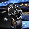 NIBOSI 2309 Men Watches Luxury  Fashion Casual  Watch Leather Band Wristwatches  - JET BLACK