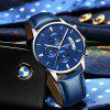 NIBOSI 2309 Men Watches Luxury  Fashion Casual  Watch Leather Band Wristwatches - DODGER BLUE