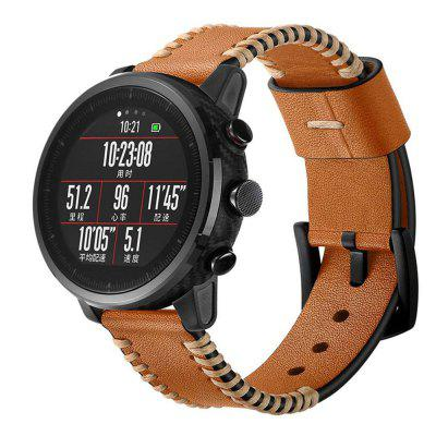 Genuine Leather Watch Band Wrist Strap for Amazfit GTR 47MM / Pace Stratos 2 2S