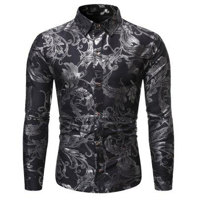 New Man Fashion Stamp Floral Full Sleeve Casual Shirt 1376