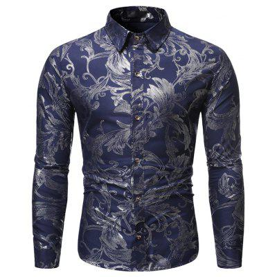 New Man Fashion Stamp Kvetinové Full Sleeve Casual Shirt 1376