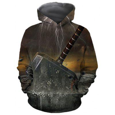 Autumn and Winter Men's Digital Hooded Printed Long-Sleeved Loose Sweater