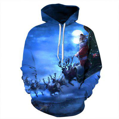 Autumn and Winter Men's Christmas Digital Hooded Printed Long-Sleeved Sweater