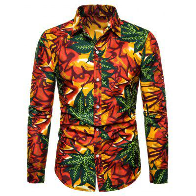 Men's  Autumn and Winter National Wind Long Sleeve Large Size Casual Shirt