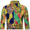 Men's  Autumn and Winter National Wind Long Sleeve Large Size Casual Shirt - MULTI-B
