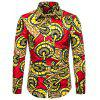Men's  Autumn and Winter National Wind Long Sleeve Large Size Casual Shirt - MULTI-G