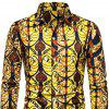 Men's  Autumn and Winter National Wind Long Sleeve Large Size Casual Shirt - MULTI-L